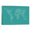 iCanvas Font World Map by Michael Tompsett Graphic Art on Canvas in Green