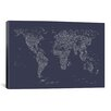 iCanvasArt Font World Map by Michael Tompsett Graphic Art on Canvas in Navy Blue