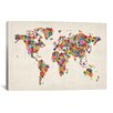 iCanvas 'Flowers World Map' by Michael Tompsett Graphic Art on Canvas