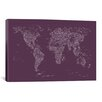 iCanvas Font World Map by Michael Tompsett Graphic Art on Canvas in Purple