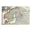 iCanvas Antique Map of Scandanavia by Matthaus Seutter Graphic Art on Canvas in Color