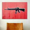 iCanvasArt 'M16 Assault Rifle on Red' by Michael Tompsett Graphic Art on Canvas