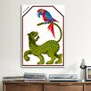 <strong>iCanvasArt</strong> Cyrk - Leopard and Parrot Vintage Advertisement on Canvas