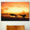iCanvas 'Greyhounds on Beach at Sunset' by Michael Tompsett Painting Print on Canvas