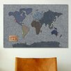 iCanvas 'Denim Map of the World' by Michael Tompsett Graphic Art on Canvas