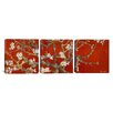 iCanvas Vincent van Gogh Almond Blossom 3 Piece on Canvas Set in Red