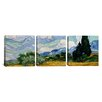 iCanvasArt Vincent van Gogh Wheatfield with Cypresses 3 Piece on Canvas Set