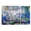 iCanvas Claude Monet Nympheas 3 Piece on Canvas Set