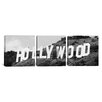 iCanvas Panoramic Photography Hollywood Skyline Cityscape Sign 3 Piece on Canvas Set in Black and White