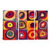 iCanvas Wassily Kandinsky Squares with Concentric Circles 3 Piece on Canvas Set