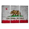 iCanvas California Flag Grunge Painted 3 Piece on Canvas Set