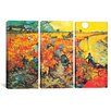 iCanvas Vincent van Gogh The Red Vineyard At Arles 3 Piece on Canvas Set