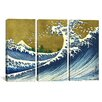 iCanvas Katsushika Hokusai A Colored Version of The Big Wave 3 Piece on Canvas Set