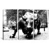 iCanvas Political Wall Street Bull 3 Piece on Canvas Set in Black and White
