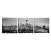iCanvasArt Panoramic Photography Seattle Skyline Cityscape Evening 3 Piece on Canvas Set in Black and White