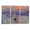 iCanvasArt Claude Monet Sunrise Impression 3 Piece on Canvas Set