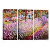iCanvasArt Claude Monet Jardin De Giverny 3 Piece on Canvas Set