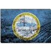 iCanvasArt Boston, Massachusetts Flag, Grunge City Skyline Graphic Art on Canvas