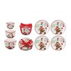 Fitz and Floyd Candy Cane Santa Snack Plate and Nested Bowl Dinnerware Collection