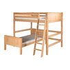 Camaflexi Full Over Twin L-Shape Loft Bed with Panel Headboard