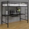 Home Loft Concept Twin Loft Bed and Workstation with Desk and Built-In Ladder