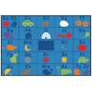 Kids Value Rugs Alphabet Seating Blue Area Rug