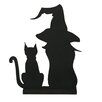 <strong>Oddity Inc.</strong> Wood Cat and Witch Silhouette
