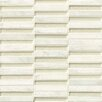 """Bedrosians Tessuto Stacked Blend 1/2"""" x 4"""" Stone and Glass Mosaic Tile in White"""