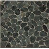 Bedrosians Hemisphere Random Sized Sliced Pebble Stone Glazed Mosaic Tile in Ocean Black