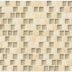 "Bedrosians Tessuto Offset Brick Blend 3/4"" x 1"" Stone and Glass Mosaic Tile in Beige"