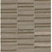 """Bedrosians Tessuto Stacked Blend 1/2"""" x 4"""" Stone and Glass Mosaic Tile in Dark Gray"""