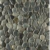 Bedrosians Hemisphere Pebble Stone Unglazed Mosaic Tile in Ocean Black