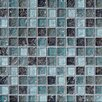 """Bedrosians Ice Crackle 1"""" x 1"""" Glass Glossy Mosaic in Blue"""