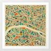 Epic Art 'Retro City Map Paris' by Jazzberry Blue Graphic Art on Canvas
