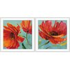 <strong>Epic Art</strong> Red Magnificence 2 Piece Framed Painting Print Set
