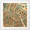 Epic Art 'Retro City Map Amsterdam' by Jazzberry Blue Graphic Art on Canvas