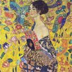 Epic Art 'Lady with Fan' by Gustav Klimt Painting Print on Canvas