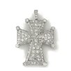 <strong>Splendor Jewelry</strong> Religious Sterling Silver Maltese Cross Cubic Zirconia Necklace