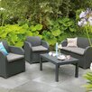SunTime Outdoor Living Oklahoma 4 Piece Lounge Seating Group with Cushions