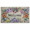 J and M Home Fashions Floral Welcome Printed Flocked Doormat