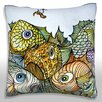 Maxwell Dickson Illustration of Fish and Worm on Hook Throw Pillow