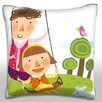 Maxwell Dickson Mother and Daughter Playing in Garden Swing Throw Pillow