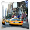 Maxwell Dickson Taxis on the Street in New York City Throw Pillow