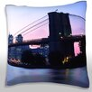 Maxwell Dickson View of the Brooklyn Bridge at Dusk Throw Pillow