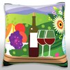 Maxwell Dickson Fruit, Wine, and Cheese on Table Throw Pillow
