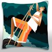 Maxwell Dickson Teenage Boy Dangling from Tire Over Pond Throw Pillow