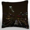 Maxwell Dickson Aerial View of Buildings Lit Up at Night, Los Angeles, California, USA Throw Pillow