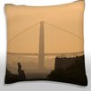 Maxwell Dickson Distant View of a Bridge, Golden Gate Bridge, California, USA Throw Pillow