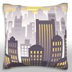 Maxwell Dickson Sunset Over Downtown City Skyline Throw Pillow