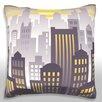 Maxwell Dickson Sunset Over Downtown City Skyline Throw Pillow